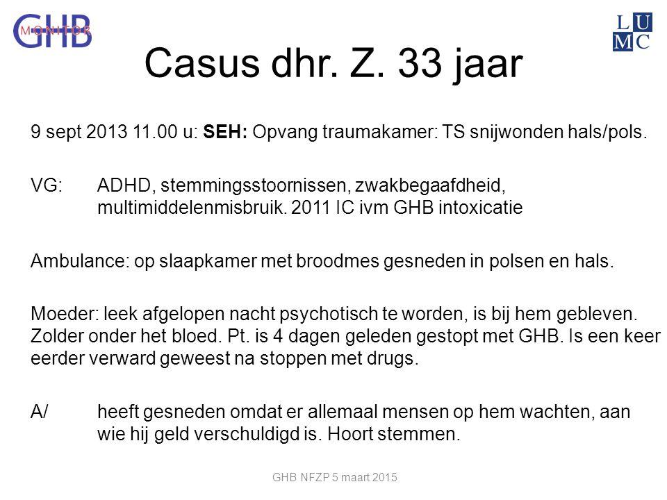 Casus dhr. Z. 33 jaar 9 sept 2013 11.00 u: SEH: Opvang traumakamer: TS snijwonden hals/pols. VG: ADHD, stemmingsstoornissen, zwakbegaafdheid, multimid