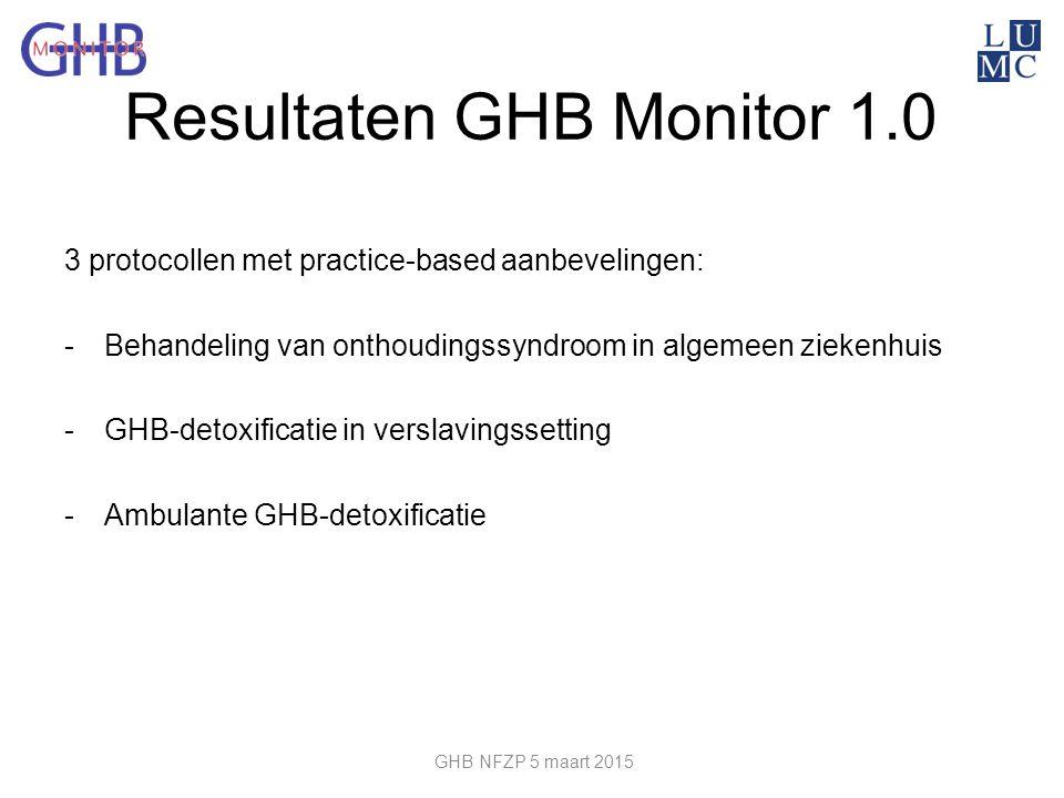 Resultaten GHB Monitor 1.0 3 protocollen met practice-based aanbevelingen: -Behandeling van onthoudingssyndroom in algemeen ziekenhuis -GHB-detoxifica