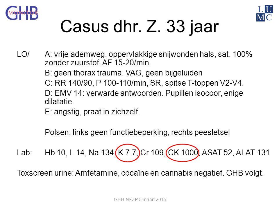 Casus dhr. Z. 33 jaar LO/ A: vrije ademweg, oppervlakkige snijwonden hals, sat. 100% zonder zuurstof. AF 15-20/min. B: geen thorax trauma. VAG, geen b