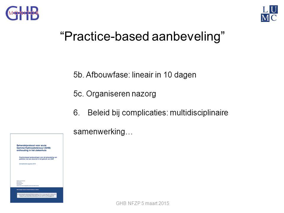 """""""Practice-based aanbeveling"""" 5b. Afbouwfase: lineair in 10 dagen 5c. Organiseren nazorg 6.Beleid bij complicaties: multidisciplinaire samenwerking… GH"""