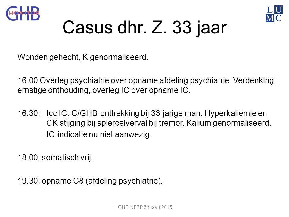 Casus dhr. Z. 33 jaar Wonden gehecht, K genormaliseerd. 16.00 Overleg psychiatrie over opname afdeling psychiatrie. Verdenking ernstige onthouding, ov