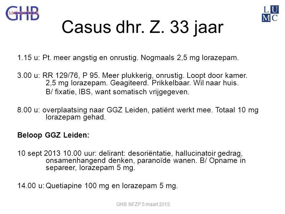 Casus dhr. Z. 33 jaar 1.15 u: Pt. meer angstig en onrustig. Nogmaals 2,5 mg lorazepam. 3.00 u: RR 129/76, P 95. Meer plukkerig, onrustig. Loopt door k