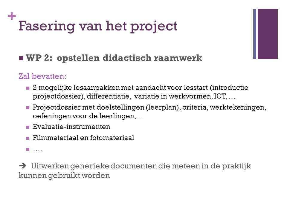 + Fasering van het project WP 2: opstellen didactisch raamwerk Zal bevatten: 2 mogelijke lesaanpakken met aandacht voor lesstart (introductie projectd
