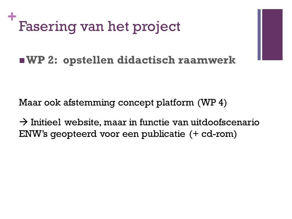 + Fasering van het project WP 2: opstellen didactisch raamwerk Maar ook afstemming concept platform (WP 4)  Initieel website, maar in functie van uit