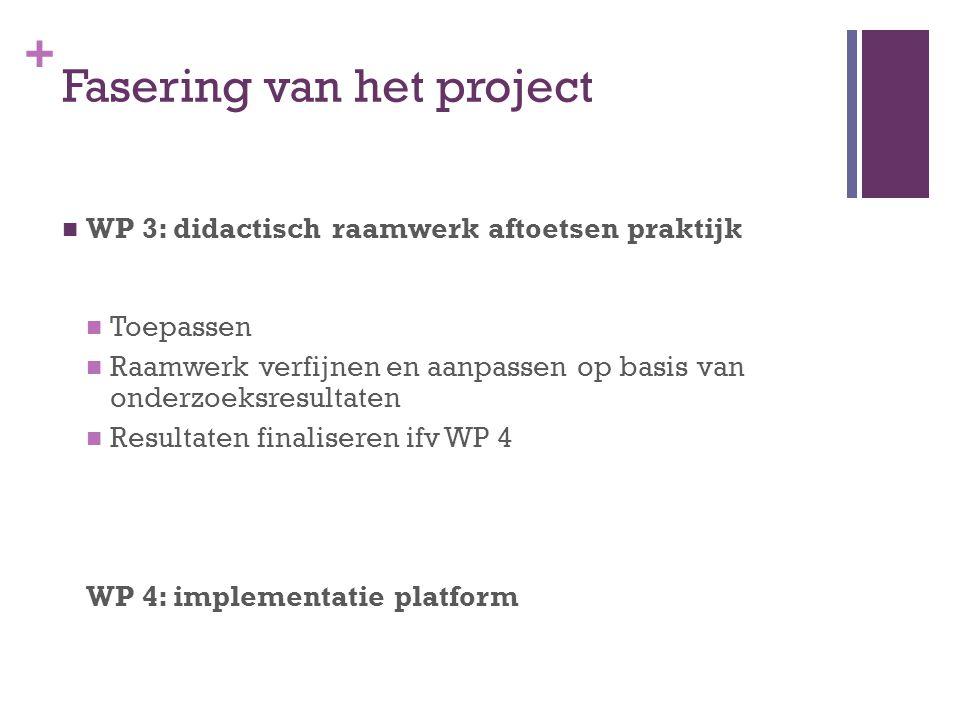 + Fasering van het project WP 3: didactisch raamwerk aftoetsen praktijk Toepassen Raamwerk verfijnen en aanpassen op basis van onderzoeksresultaten Re