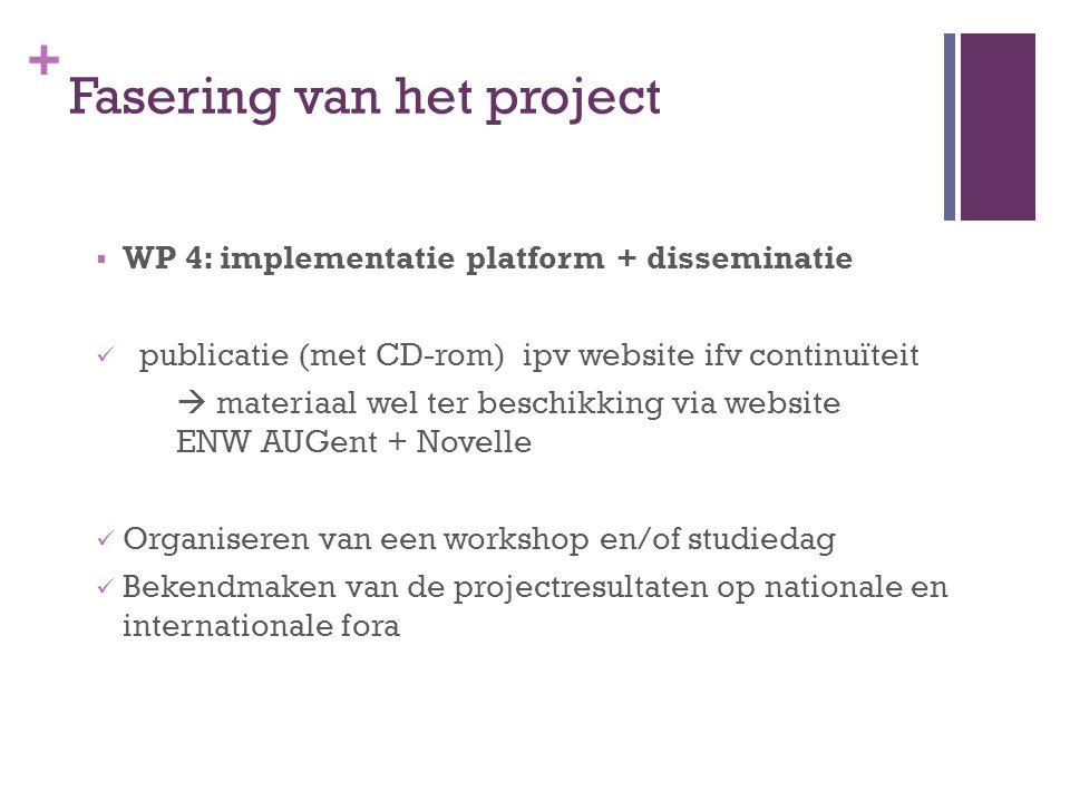 + Fasering van het project  WP 4: implementatie platform + disseminatie publicatie (met CD-rom) ipv website ifv continuïteit  materiaal wel ter besc