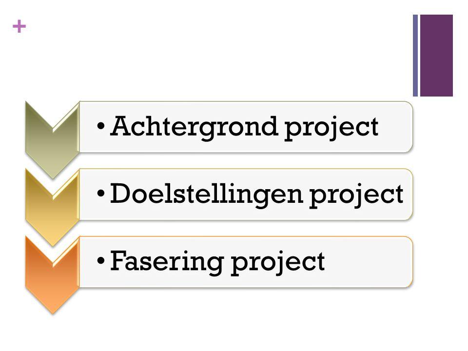 + Achtergrond projectDoelstellingen projectFasering project