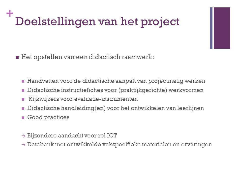+ Doelstellingen van het project Het opstellen van een didactisch raamwerk: Handvatten voor de didactische aanpak van projectmatig werken Didactische