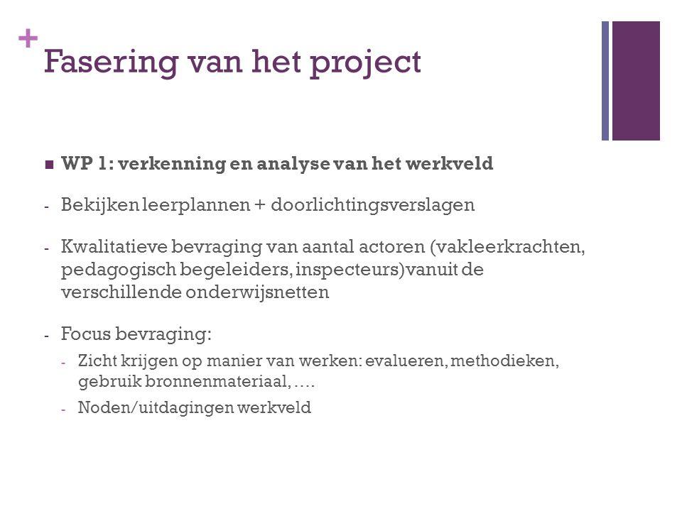 + Fasering van het project WP 1: verkenning en analyse van het werkveld - Bekijken leerplannen + doorlichtingsverslagen - Kwalitatieve bevraging van a
