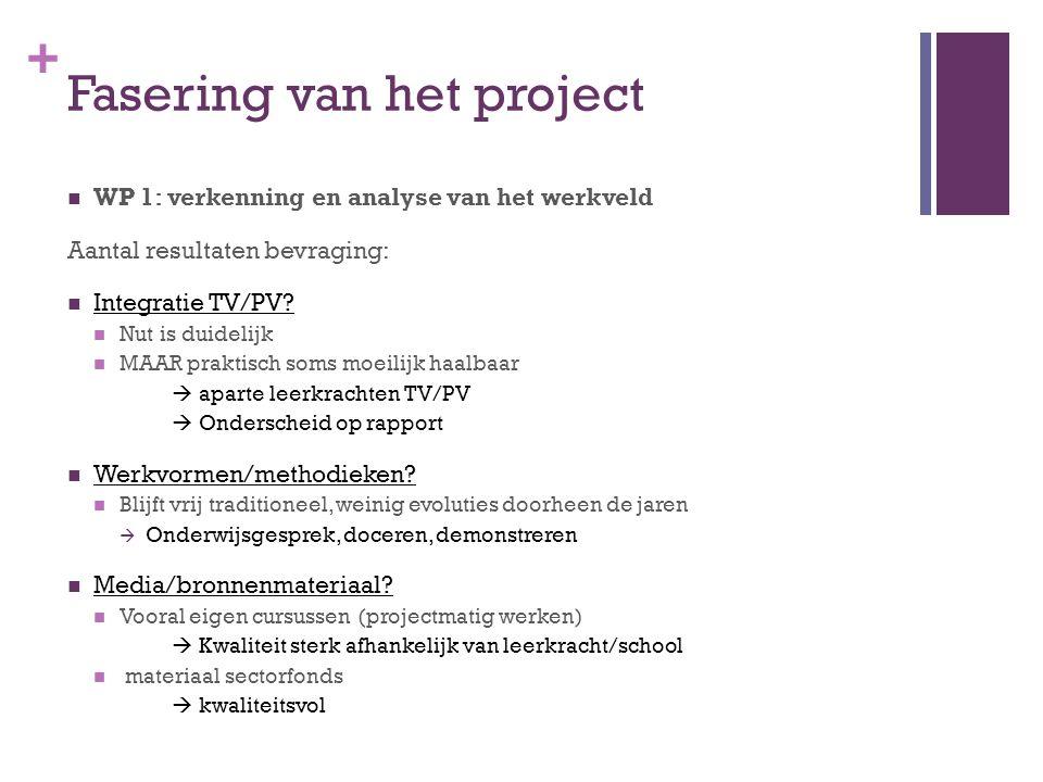 + Fasering van het project WP 1: verkenning en analyse van het werkveld Aantal resultaten bevraging: Integratie TV/PV? Nut is duidelijk MAAR praktisch