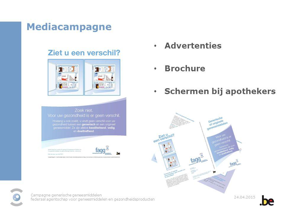 Campagne generische geneesmiddelen federaal agentschap voor geneesmiddelen en gezondheidsproducten 24.04.2015 Mediacampagne Advertenties Brochure Sche