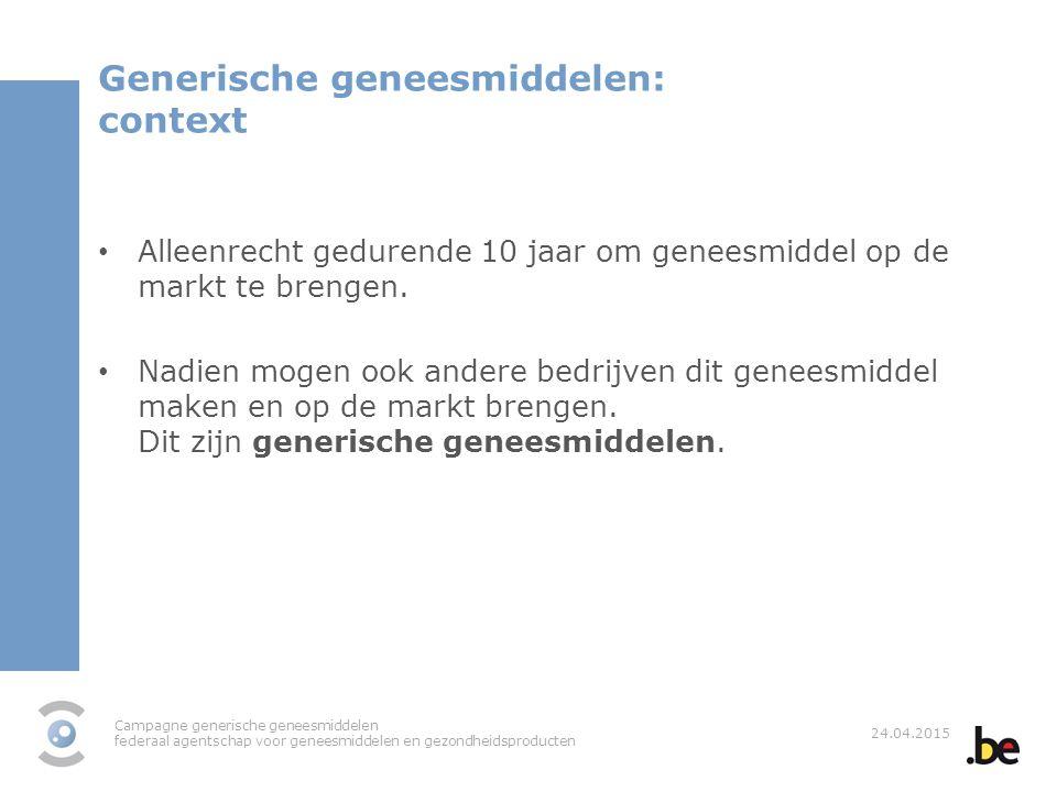 Campagne generische geneesmiddelen federaal agentschap voor geneesmiddelen en gezondheidsproducten 24.04.2015 Generische geneesmiddelen: context Allee