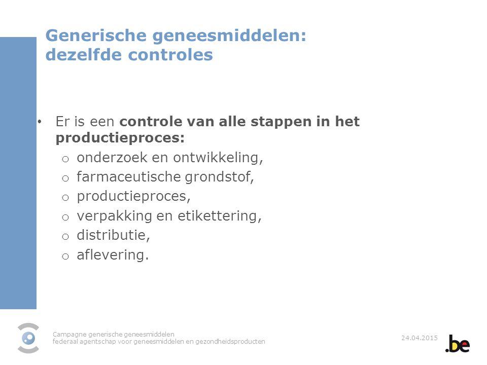 Campagne generische geneesmiddelen federaal agentschap voor geneesmiddelen en gezondheidsproducten 24.04.2015 Generische geneesmiddelen: dezelfde cont