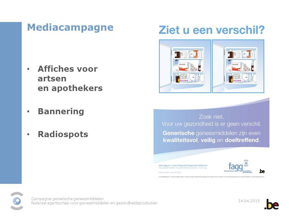 Campagne generische geneesmiddelen federaal agentschap voor geneesmiddelen en gezondheidsproducten 24.04.2015 Mediacampagne Affiches voor artsen en ap