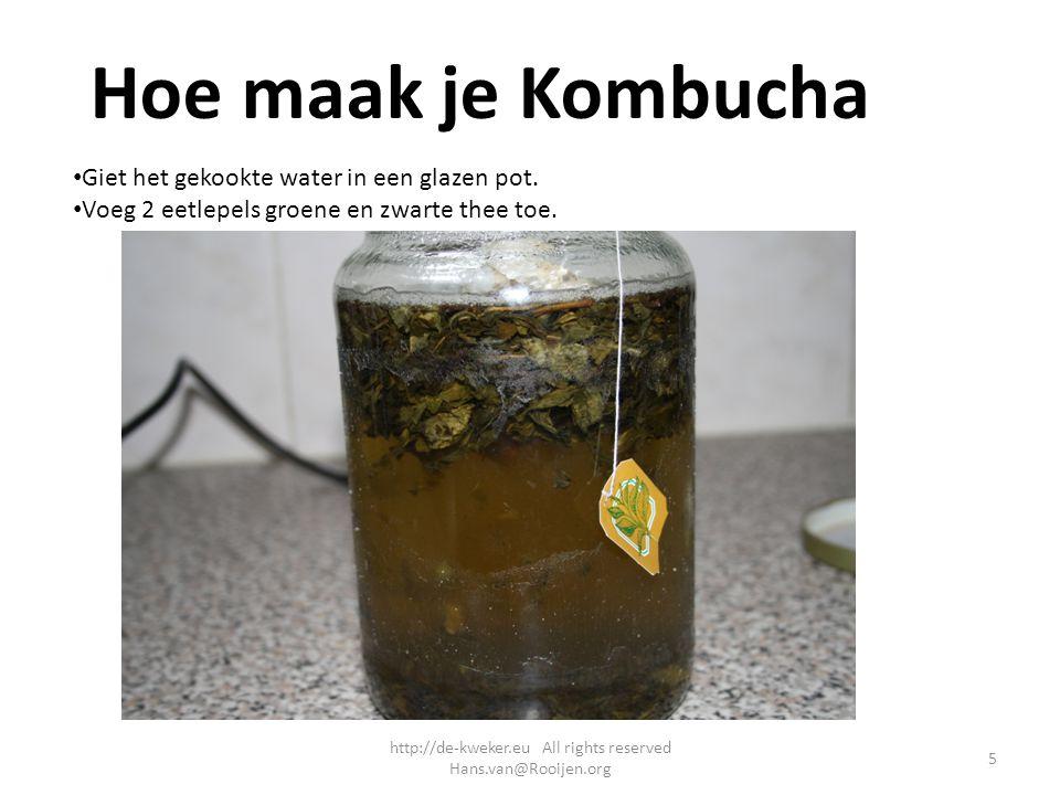 Hoe maak je Kombucha Giet het gekookte water in een glazen pot. Voeg 2 eetlepels groene en zwarte thee toe. 5 http://de-kweker.eu All rights reserved