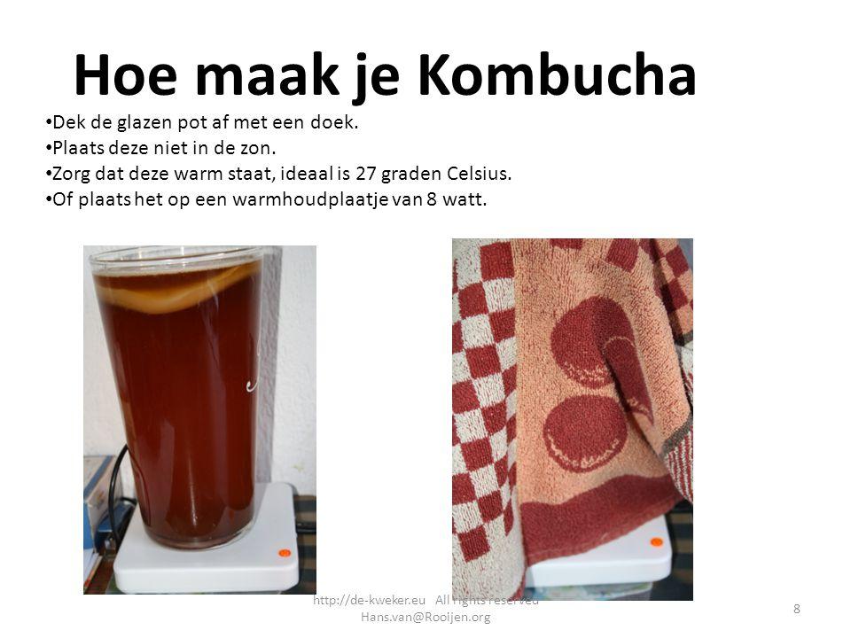 Hoe maak je Kombucha Dek de glazen pot af met een doek. Plaats deze niet in de zon. Zorg dat deze warm staat, ideaal is 27 graden Celsius. Of plaats h