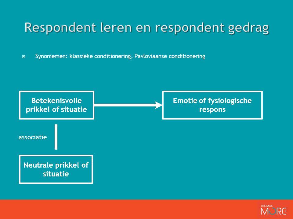  Synoniemen: klassieke conditionering, Pavloviaanse conditionering Neutrale prikkel of situatie Betekenisvolle prikkel of situatie Emotie of fysiologische respons associatie