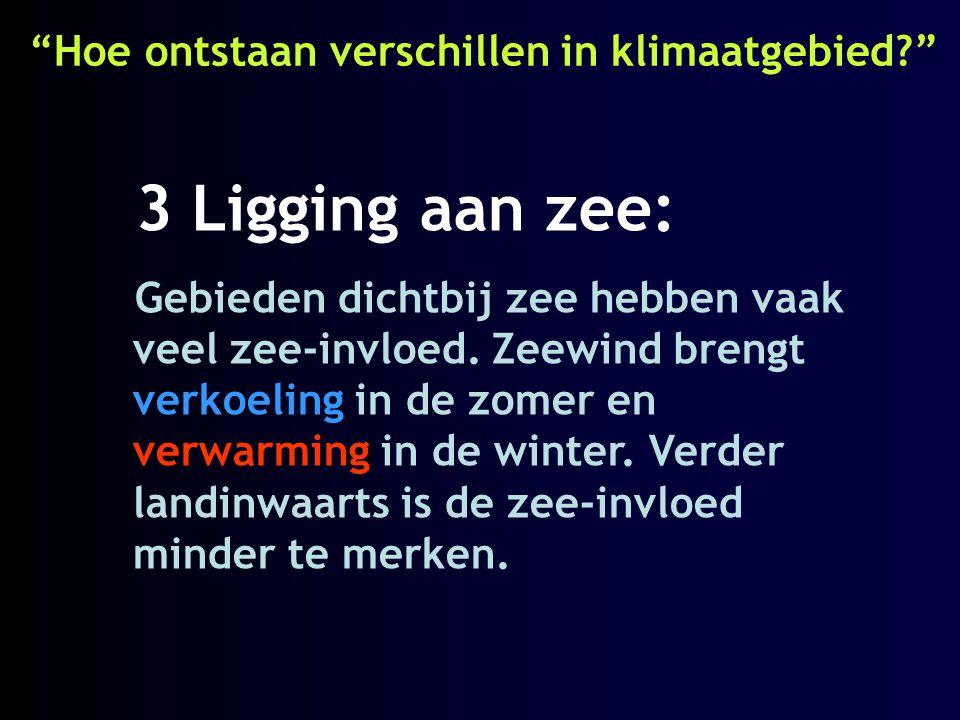 """""""Hoe ontstaan verschillen in klimaatgebied?"""" 3 Ligging aan zee: Gebieden dichtbij zee hebben vaak veel zee-invloed. Zeewind brengt verkoeling in de zo"""