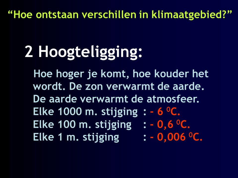 """""""Hoe ontstaan verschillen in klimaatgebied?"""" 2 Hoogteligging: Hoe hoger je komt, hoe kouder het wordt. De zon verwarmt de aarde. De aarde verwarmt de"""