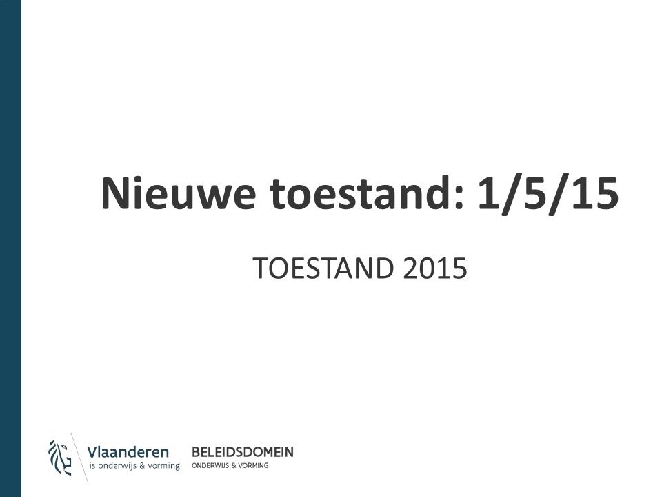 Nieuwe toestand: 1/5/15 TOESTAND 2015