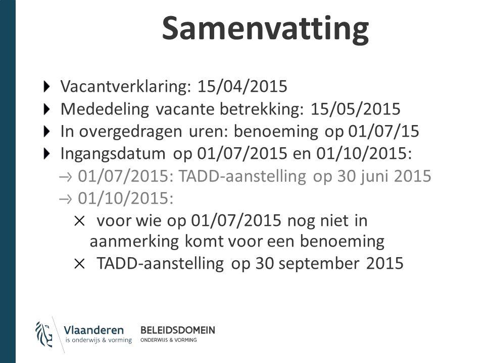 Samenvatting Vacantverklaring: 15/04/2015 Mededeling vacante betrekking: 15/05/2015 In overgedragen uren: benoeming op 01/07/15 Ingangsdatum op 01/07/