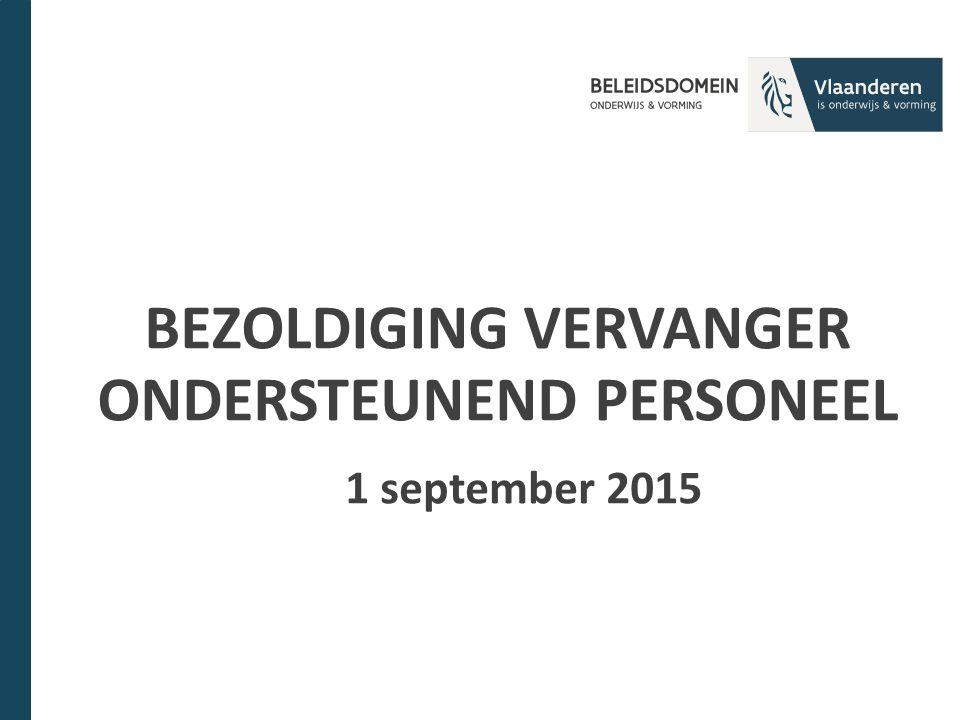 BEZOLDIGING VERVANGER ONDERSTEUNEND PERSONEEL 1 september 2015