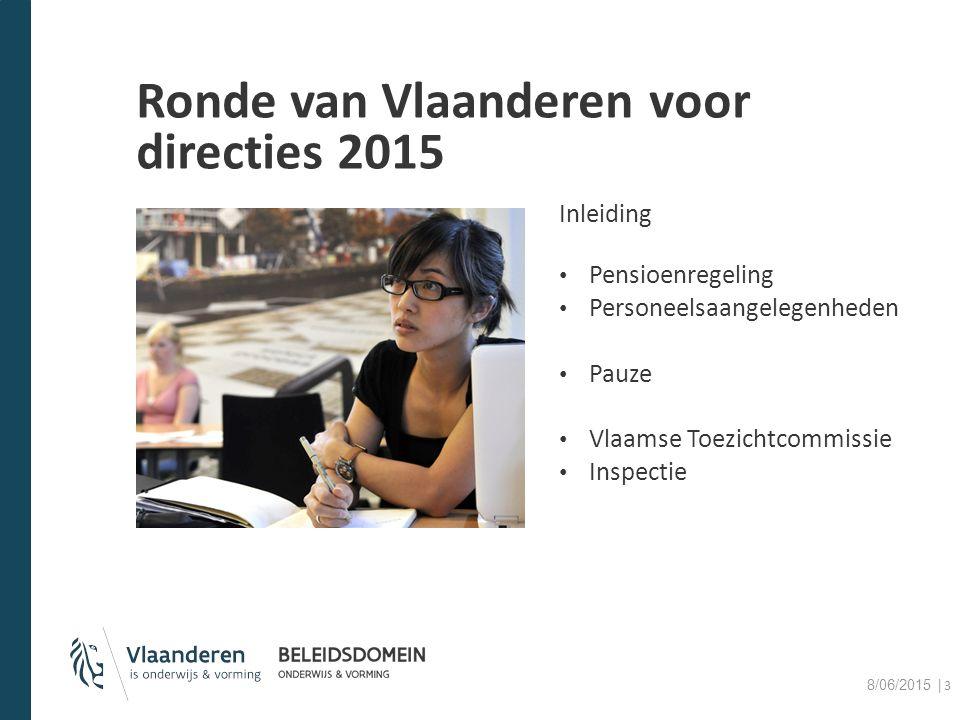 Ronde van Vlaanderen voor directies 2015 Inleiding Pensioenregeling Personeelsaangelegenheden Pauze Vlaamse Toezichtcommissie Inspectie 8/06/2015 │3