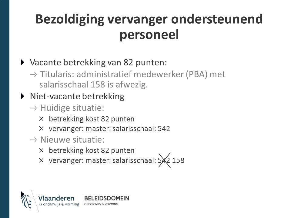 Bezoldiging vervanger ondersteunend personeel Vacante betrekking van 82 punten: Titularis: administratief medewerker (PBA) met salarisschaal 158 is af