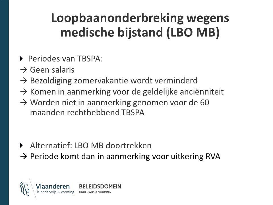 Loopbaanonderbreking wegens medische bijstand (LBO MB) Periodes van TBSPA:  Geen salaris  Bezoldiging zomervakantie wordt verminderd  Komen in aanm