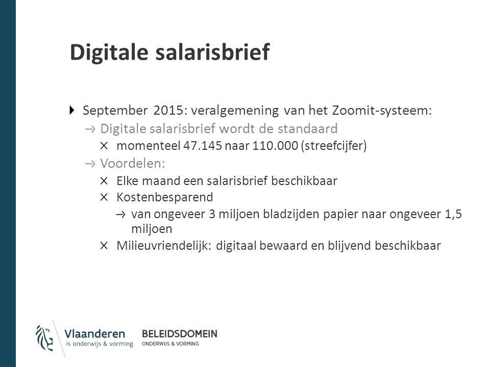Digitale salarisbrief September 2015: veralgemening van het Zoomit-systeem: Digitale salarisbrief wordt de standaard momenteel 47.145 naar 110.000 (st