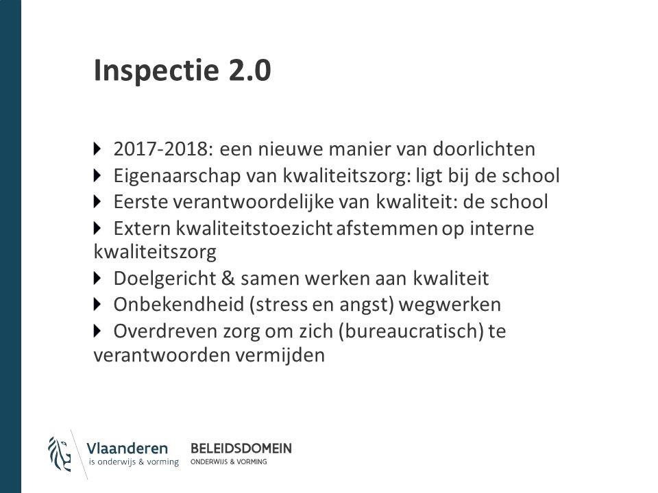 Inspectie 2.0 2017-2018: een nieuwe manier van doorlichten Eigenaarschap van kwaliteitszorg: ligt bij de school Eerste verantwoordelijke van kwaliteit
