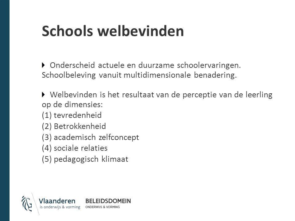 Schools welbevinden Onderscheid actuele en duurzame schoolervaringen. Schoolbeleving vanuit multidimensionale benadering. Welbevinden is het resultaat