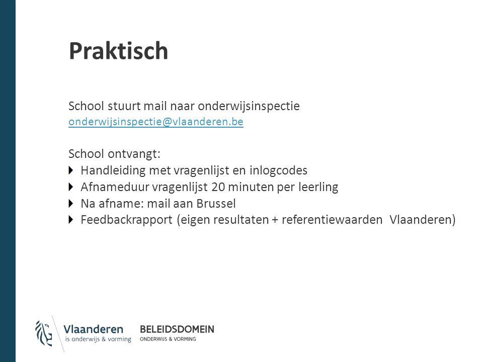 Praktisch School stuurt mail naar onderwijsinspectie onderwijsinspectie@vlaanderen.be School ontvangt: Handleiding met vragenlijst en inlogcodes Afnam
