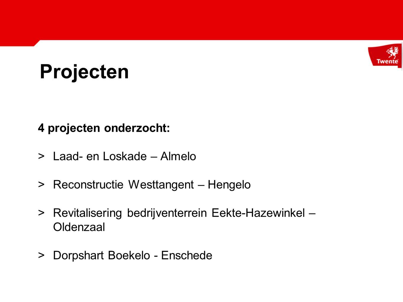 Projecten 4 projecten onderzocht: >Laad- en Loskade – Almelo >Reconstructie Westtangent – Hengelo >Revitalisering bedrijventerrein Eekte-Hazewinkel – Oldenzaal >Dorpshart Boekelo - Enschede