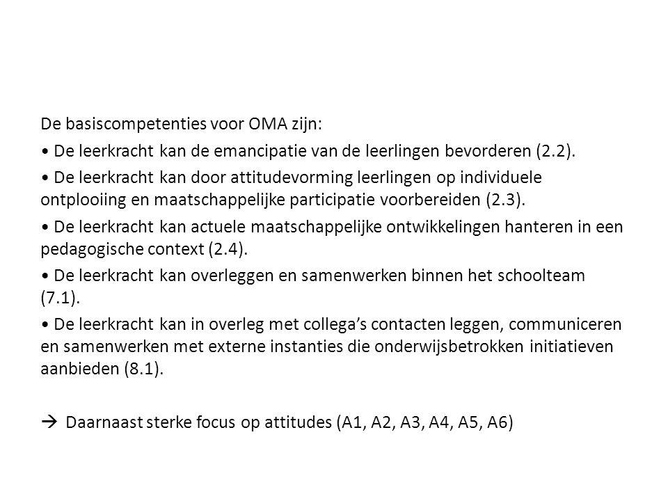 De basiscompetenties voor OMA zijn: De leerkracht kan de emancipatie van de leerlingen bevorderen (2.2). De leerkracht kan door attitudevorming leerli