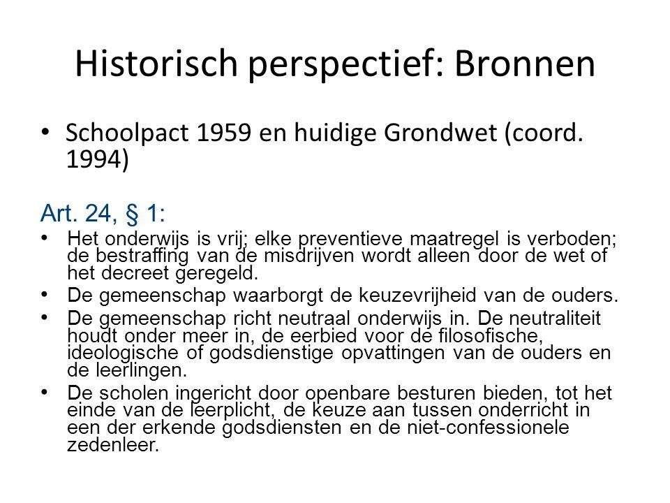 Historisch perspectief: Bronnen Schoolpact 1959 en huidige Grondwet (coord. 1994) Art. 24, § 1: Het onderwijs is vrij; elke preventieve maatregel is v