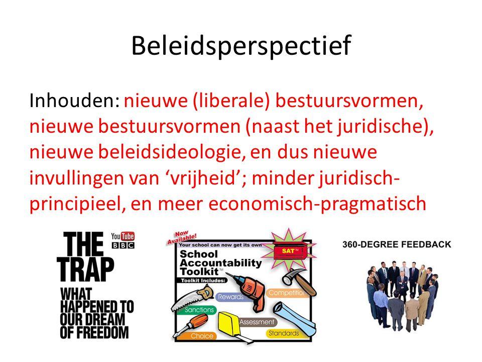 Beleidsperspectief Inhouden: nieuwe (liberale) bestuursvormen, nieuwe bestuursvormen (naast het juridische), nieuwe beleidsideologie, en dus nieuwe in