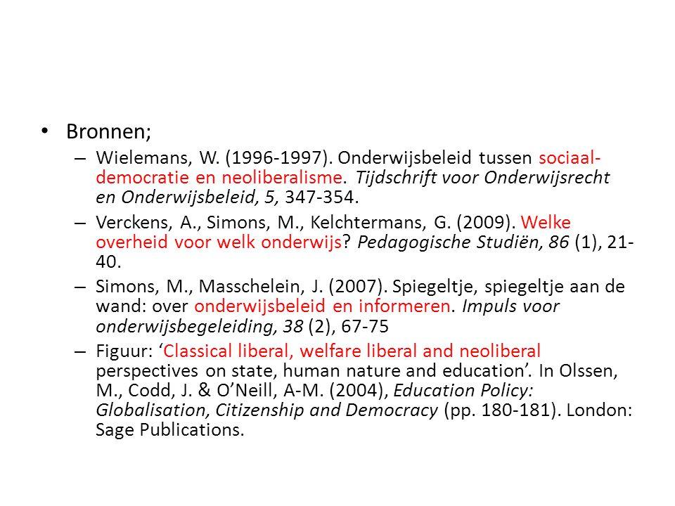 Bronnen; – Wielemans, W. (1996-1997). Onderwijsbeleid tussen sociaal- democratie en neoliberalisme. Tijdschrift voor Onderwijsrecht en Onderwijsbeleid