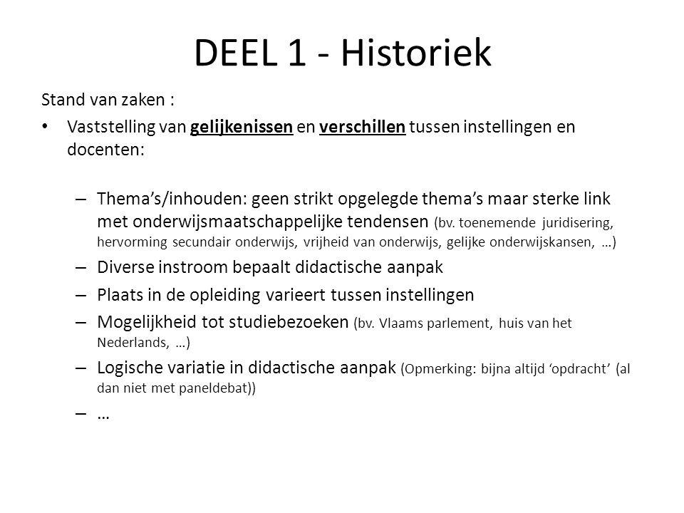 DEEL 1 - Historiek Stand van zaken : Vaststelling van gelijkenissen en verschillen tussen instellingen en docenten: – Thema's/inhouden: geen strikt op