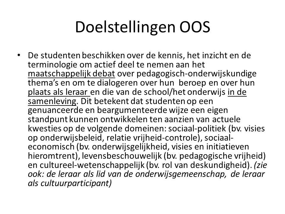 Doelstellingen OOS De studenten beschikken over de kennis, het inzicht en de terminologie om actief deel te nemen aan het maatschappelijk debat over p