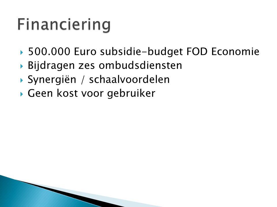 500.000 Euro subsidie-budget FOD Economie  Bijdragen zes ombudsdiensten  Synergiën / schaalvoordelen  Geen kost voor gebruiker