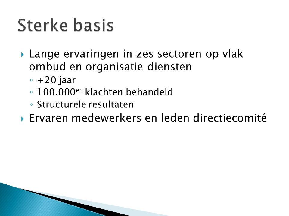 Lange ervaringen in zes sectoren op vlak ombud en organisatie diensten ◦ +20 jaar ◦ 100.000 en klachten behandeld ◦ Structurele resultaten  Ervaren medewerkers en leden directiecomité