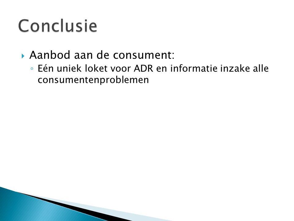  Aanbod aan de consument: ◦ Eén uniek loket voor ADR en informatie inzake alle consumentenproblemen