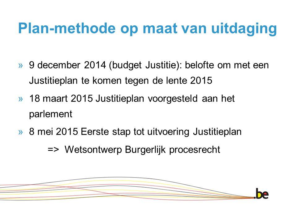 Plan-methode op maat van uitdaging »9 december 2014 (budget Justitie): belofte om met een Justitieplan te komen tegen de lente 2015 »18 maart 2015 Justitieplan voorgesteld aan het parlement »8 mei 2015 Eerste stap tot uitvoering Justitieplan => Wetsontwerp Burgerlijk procesrecht
