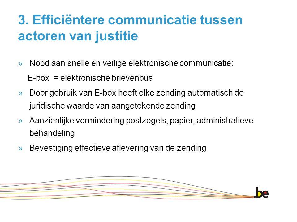 3. Efficiëntere communicatie tussen actoren van justitie »Nood aan snelle en veilige elektronische communicatie: E-box = elektronische brievenbus »Doo