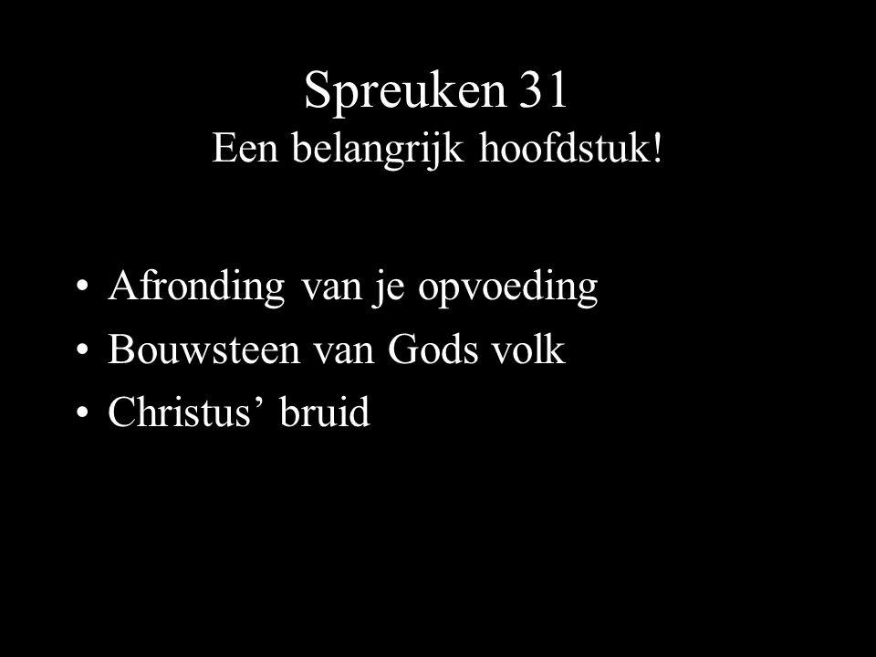 Spreuken 31 Een belangrijk hoofdstuk.