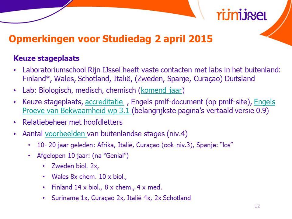 Opmerkingen voor Studiedag 2 april 2015 12 Keuze stageplaats Laboratoriumschool Rijn IJssel heeft vaste contacten met labs in het buitenland: Finland*