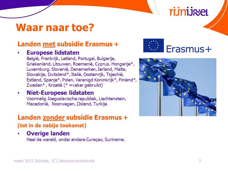 Waar naar toe? Landen met subsidie Erasmus + Europese lidstaten België, Frankrijk, Letland, Portugal, Bulgarije, Griekenland, Litouwen, Roemenië, Cypr