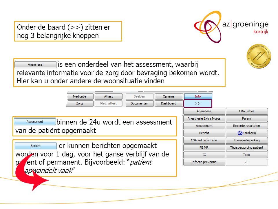 binnen de 24u wordt een assessment van de patiënt opgemaakt is een onderdeel van het assessment, waarbij relevante informatie voor de zorg door bevraging bekomen wordt.