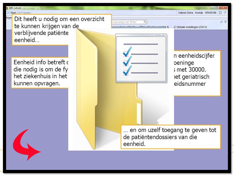 15 KWS: werklijsten/ aanwezigheidsbeeld (Selecteer patiënt) Een patiënt selecteren doet u door 1x linker muisklik uit te voeren op de gewenste patiënt Klik op KWS-testpatiënt AZGK nummer 335